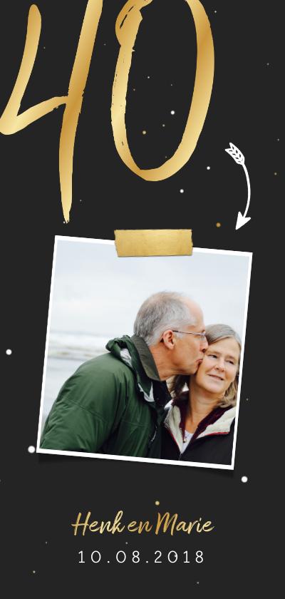Jubileumkaarten - Jubileumkaart langwerpig met gouden 40 en foto
