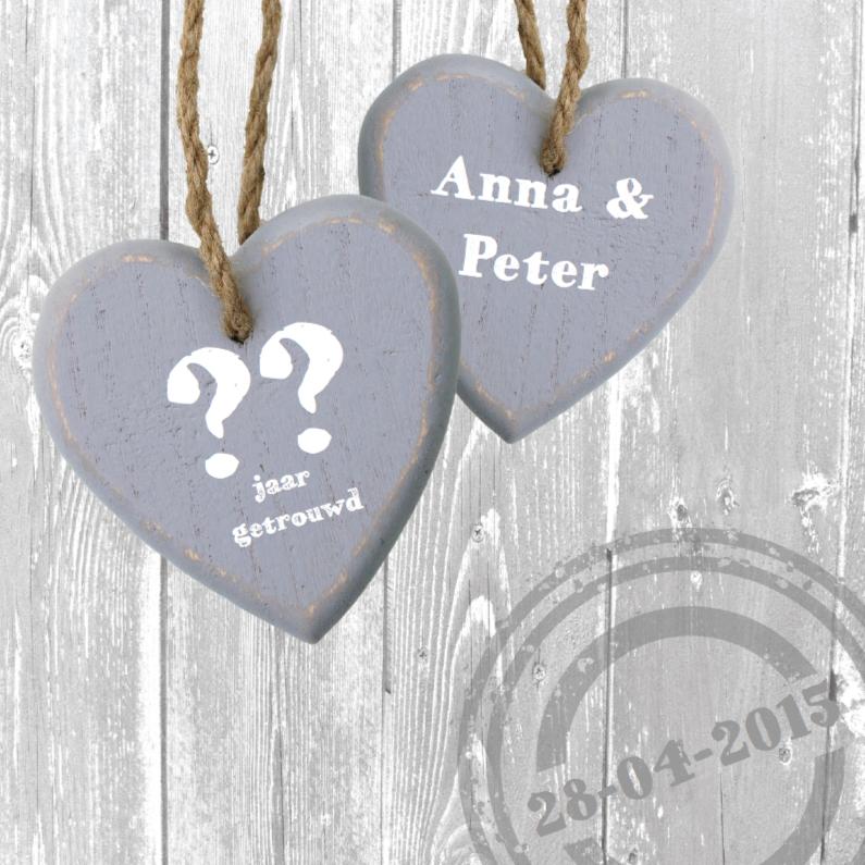 Jubileumkaarten - jubileumkaart met 2 grote houten harten
