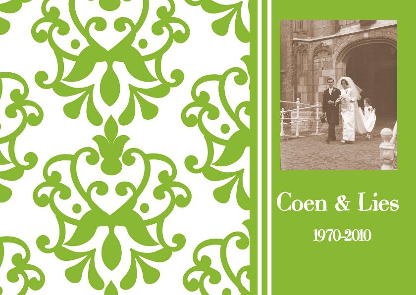 Uitnodigingen - Jubileumkaart met foto groen