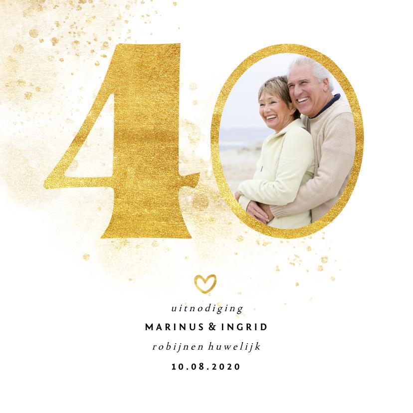 Jubileumkaarten - Jubileumkaart met gouden 40 en foto