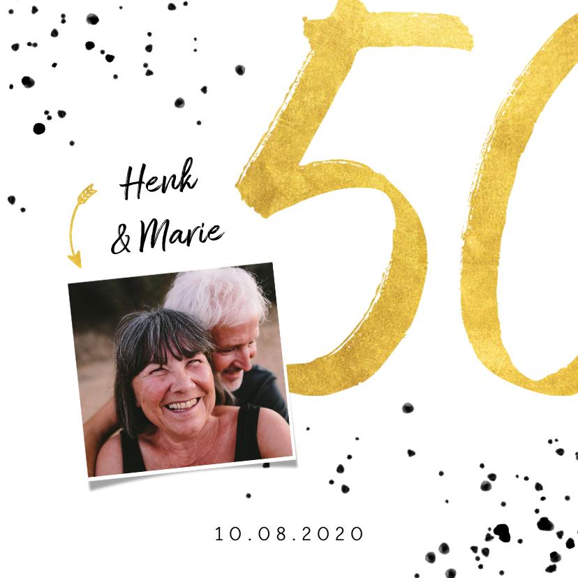 Jubileumkaarten - Jubileumkaart met gouden 50, spetters en foto