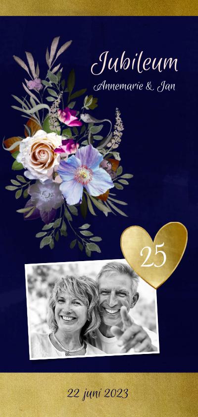 Jubileumkaarten - Jubileumkaart oude meesters bloemen goud jaar aanpasbaar