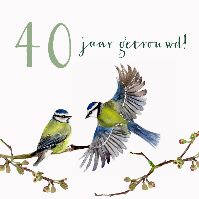 Jubileumkaarten - Jubileumkaart Romantische vogels