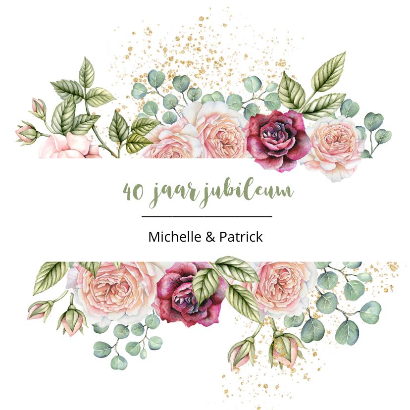Jubileumkaarten - Jubileumkaart rozen eucalyptusblad