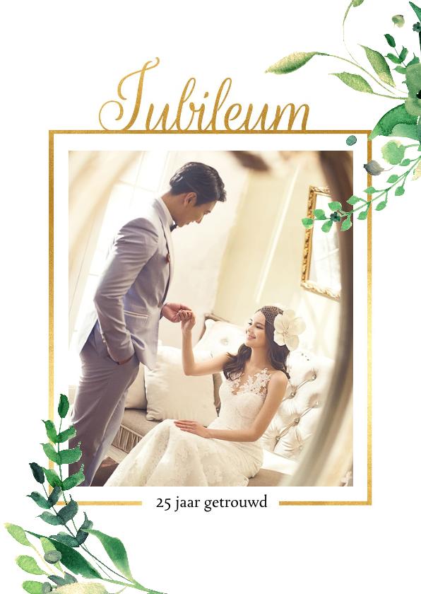Jubileumkaarten - Jubileumkaart staand Stijlvol wit met goud