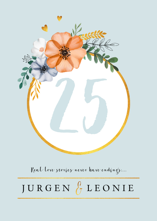 Jubileumkaarten - Jubileumkaart  uitnodiging klassiek en stijlvol met bloemen
