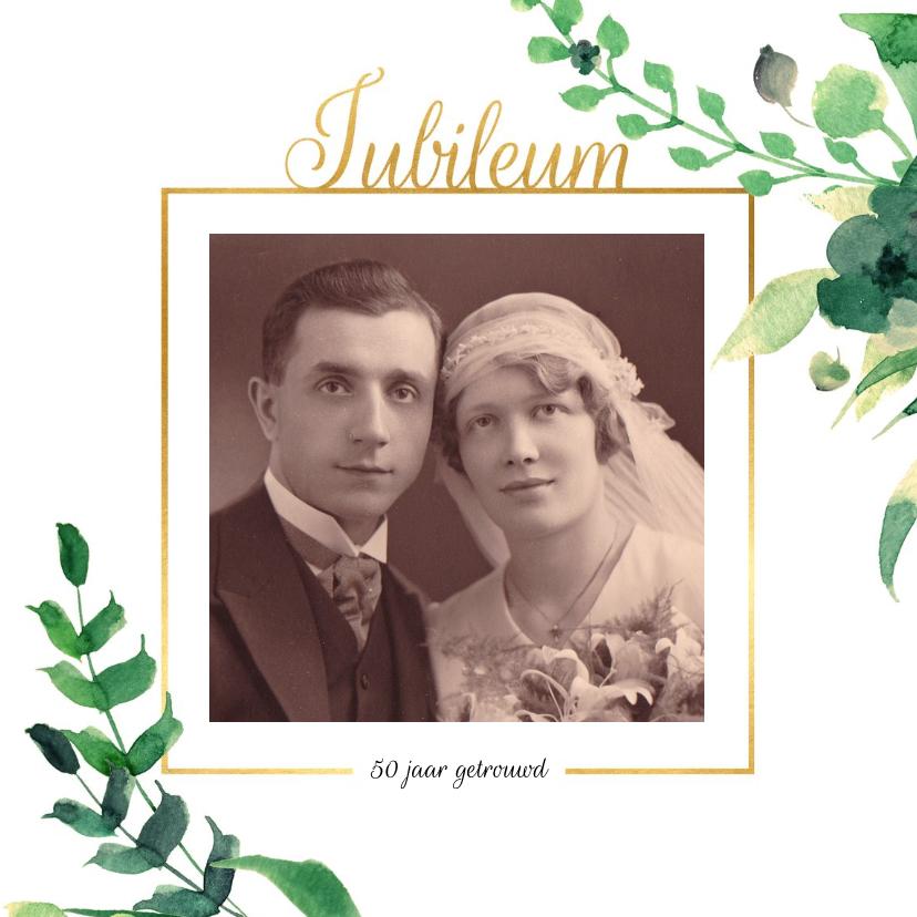 Jubileumkaarten - Jubileumkaart vierkant Stijlvol wit met goud