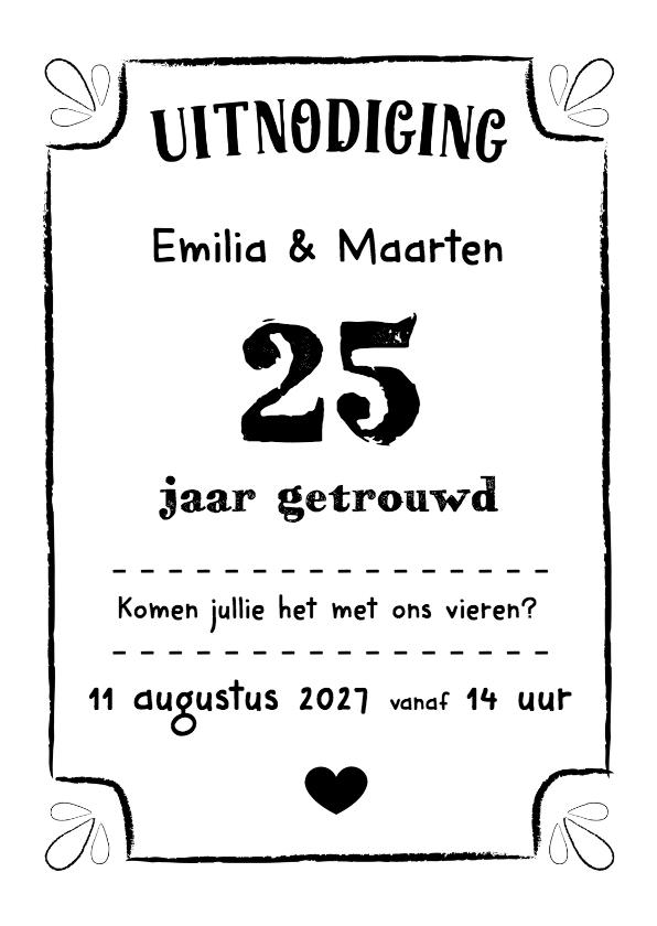 Jubileumkaarten - Jubileumkaart zilveren huwelijk zwart wit typografisch - DH