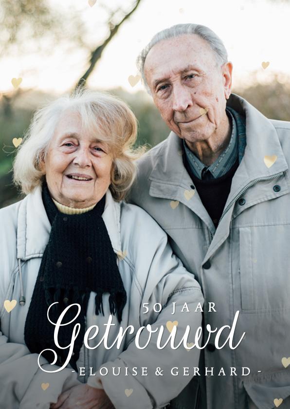 Jubileumkaarten - Klassieke huwelijksjubileum kaart 50 jaar met eigen foto