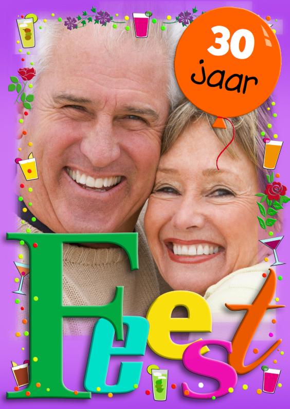 Jubileumkaarten - Kleurrijke uitnodiging voor echtpaar met tekst: FEEST