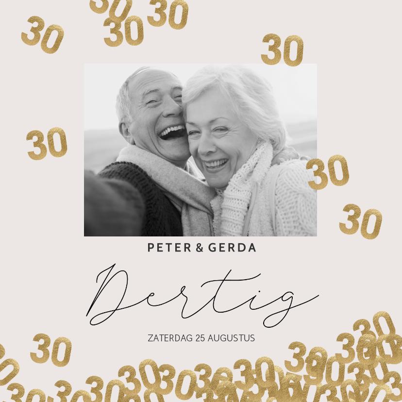 Jubileumkaarten - Moderne huwelijk jubileum uitnodiging 30 jaar confetti