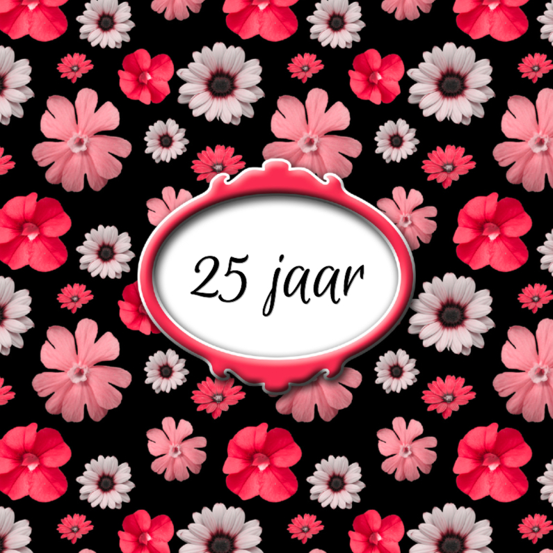 Jubileumkaarten - Rood bloemendessin voor jubileum
