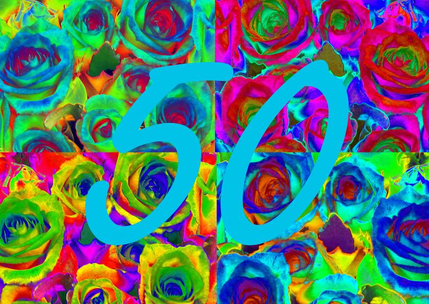 Jubileumkaarten - Rozen collage 50 algemeen