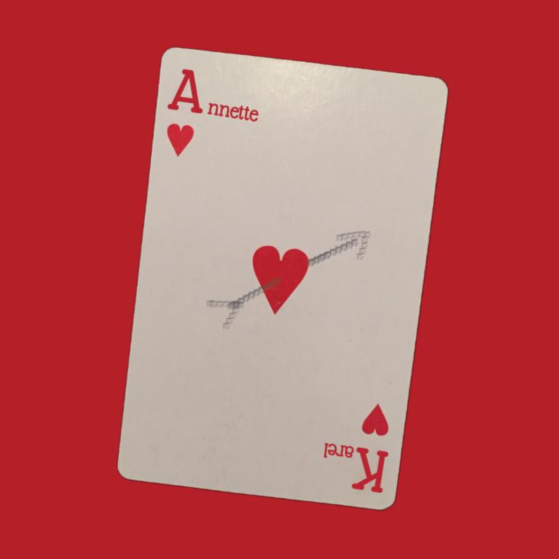 Jubileumkaarten - Speelkaart harten met eigen naam
