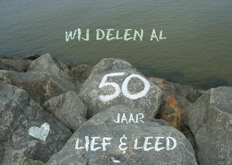 Jubileumkaarten - stenen aan zee 50 jaar getrouwd