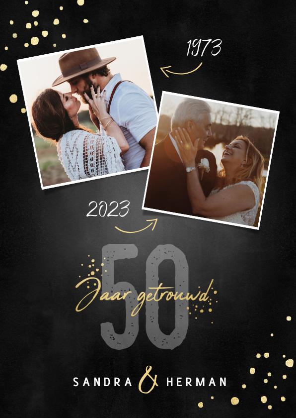 Jubileumkaarten - Stijlvolle jubileum uitnodiging 50 jaar getrouwd