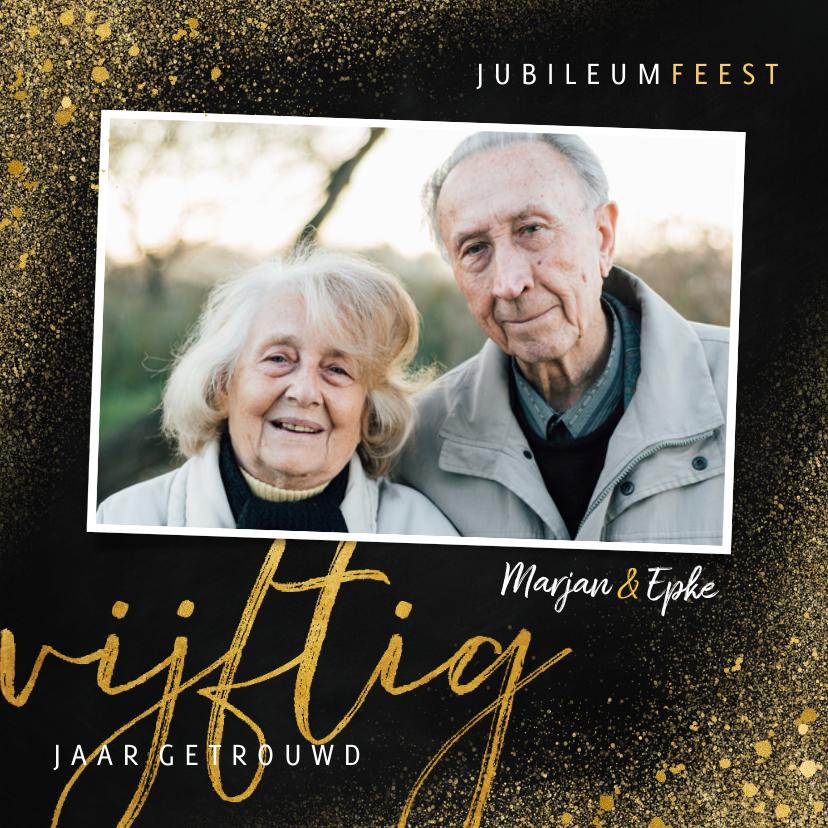 Jubileumkaarten - Stijlvolle jubileum uitnodiging 50 jaar met goudlook
