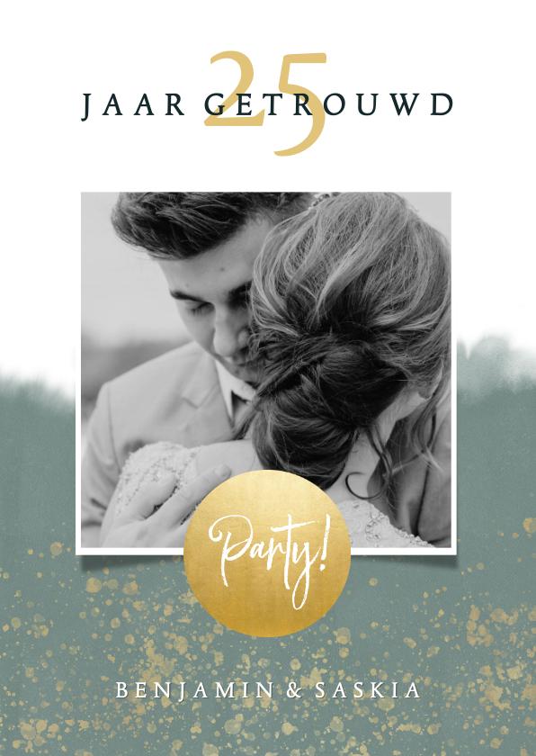 Jubileumkaarten - Stijlvolle jubileum uitnodiging met waterverf, goud en foto