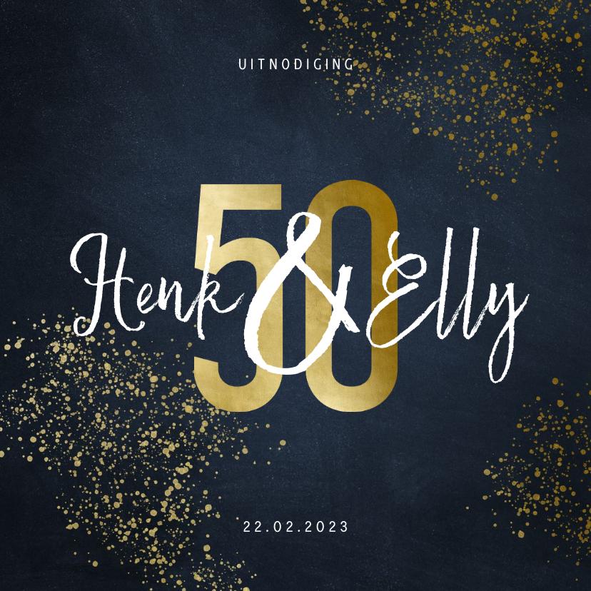 Jubileumkaarten - Stijlvolle jubileumkaart 50 jaar goudspetters