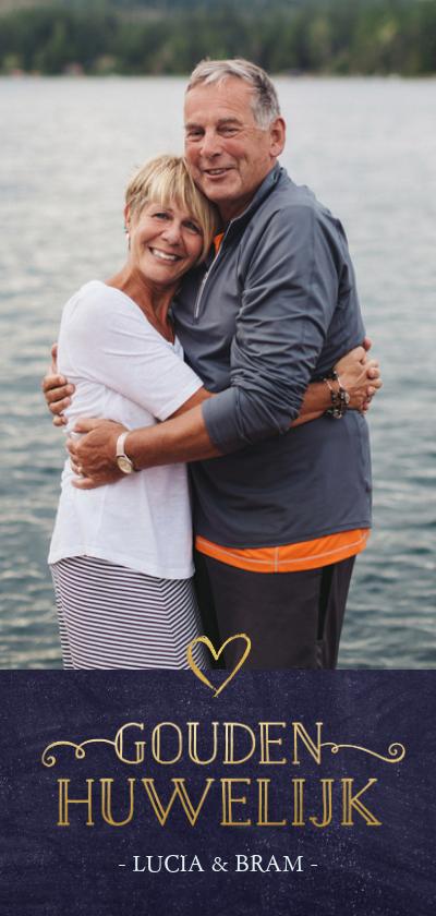 Jubileumkaarten - Stijlvolle langwerpige uitnodiging gouden huwelijksjubileum