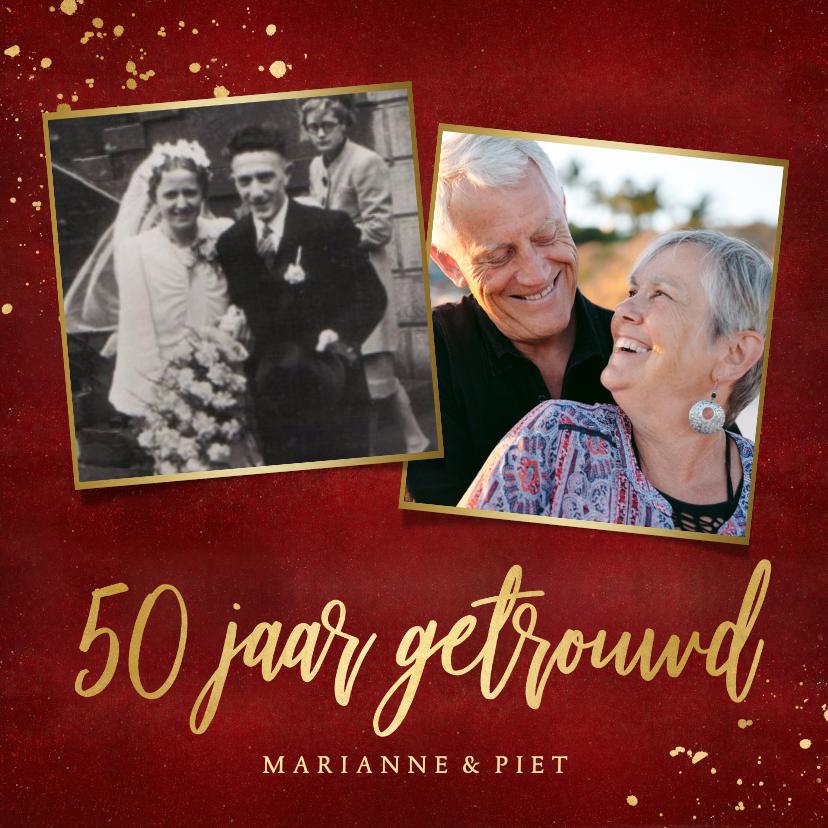 Jubileumkaarten - Stijlvolle rode uitnodigingskaart 50 jaar getrouwd met goud