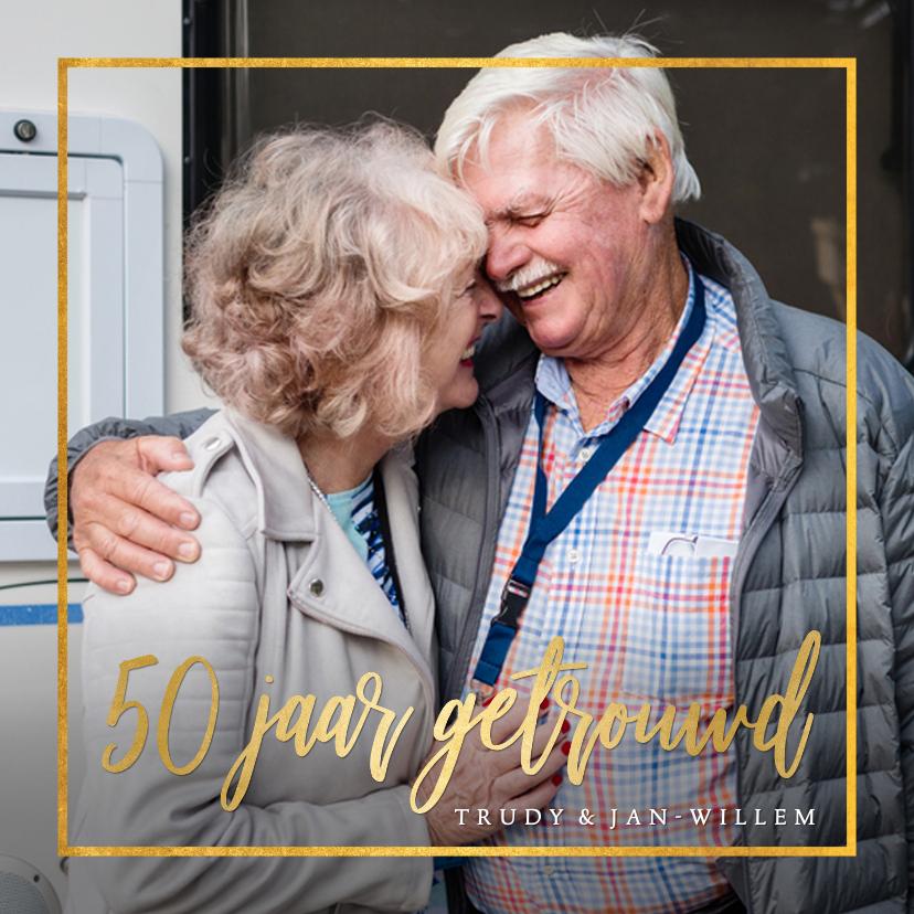 Jubileumkaarten - Stijlvolle uitnodiging gouden huwelijk met eigen foto