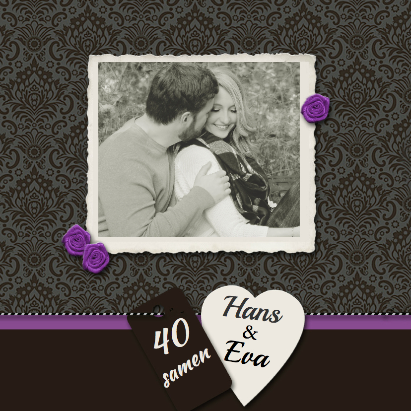 Jubileumkaarten - Stijlvolle uitnodiging zwart lint roos
