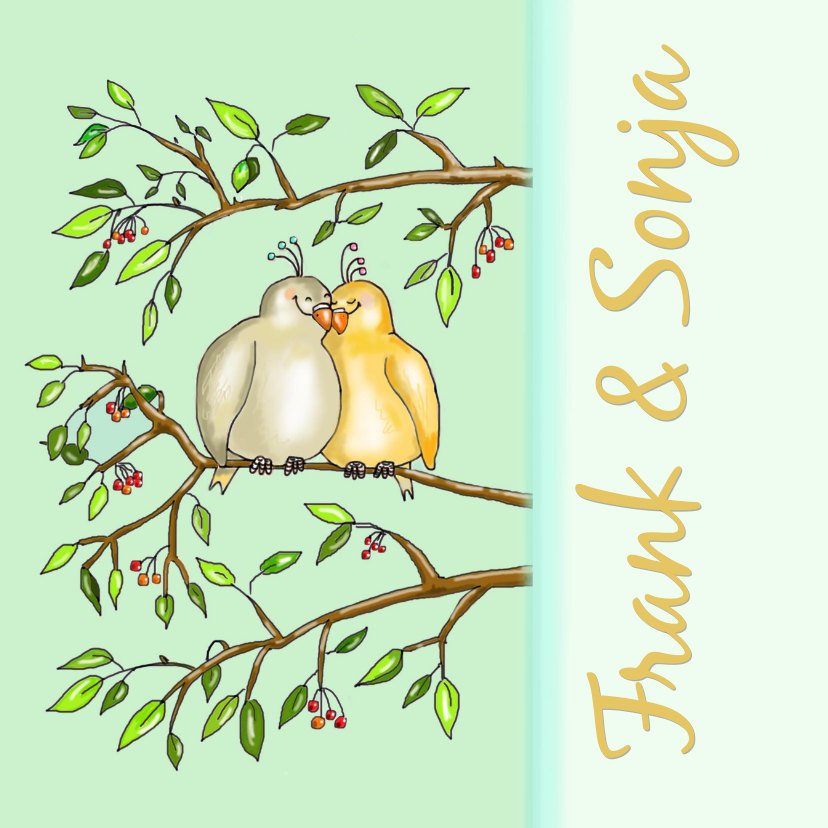 Jubileumkaarten - Twee duifjes