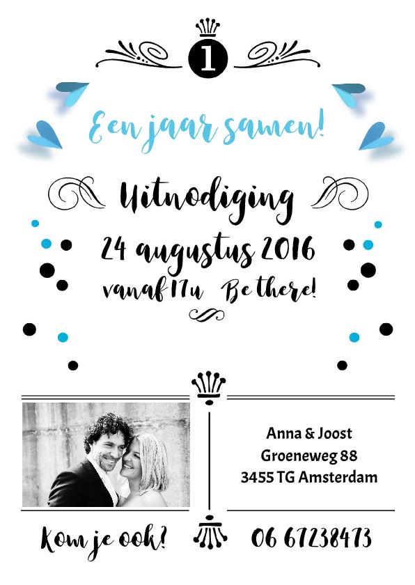 Jubileumkaarten - Uitnodiging 1 jaar samen