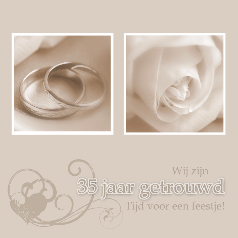 uitnodiging 35 jaar getrouwd - jubileumkaarten | kaartje2go