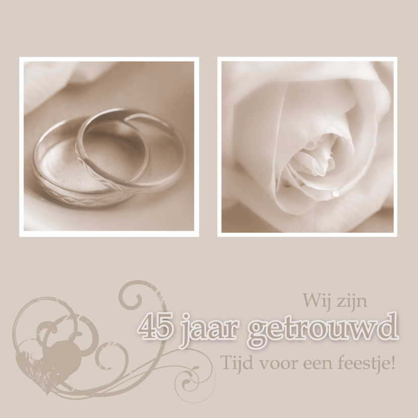 Jubileumkaarten - Uitnodiging 45 jarig huwelijk