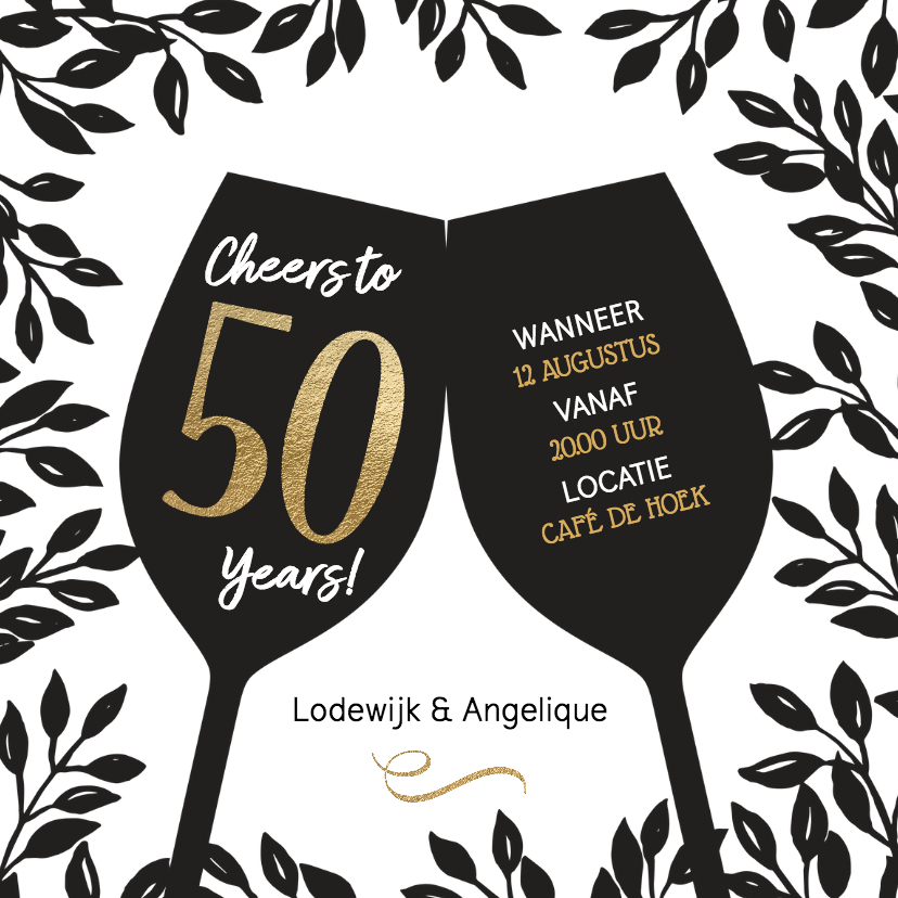 Jubileumkaarten - Uitnodiging 50 jaar huwelijk Cheers