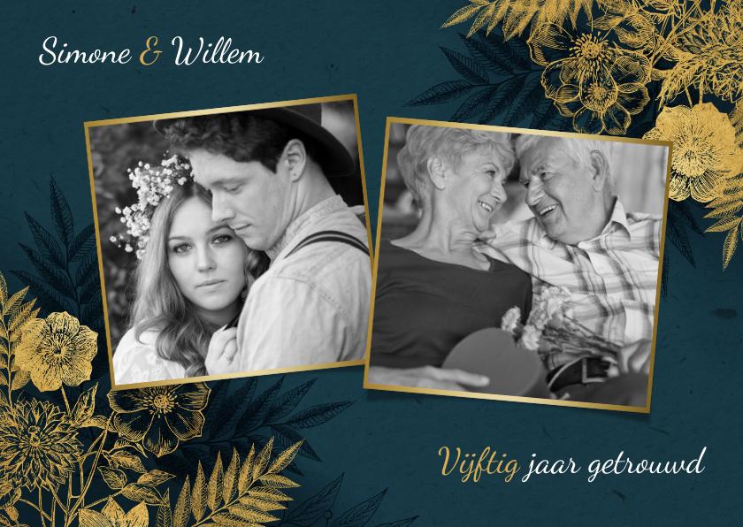Jubileumkaarten - Uitnodiging 50 jarig jubileum met gouden bloemen & waterverf