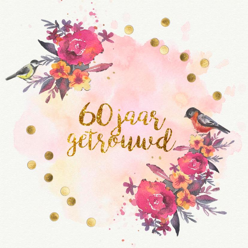 Jubileumkaarten - uitnodiging 60 jaar getrouwd aquarel