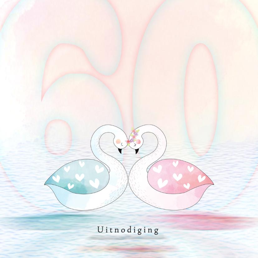 Jubileumkaarten - Uitnodiging  diamant zwaan roze