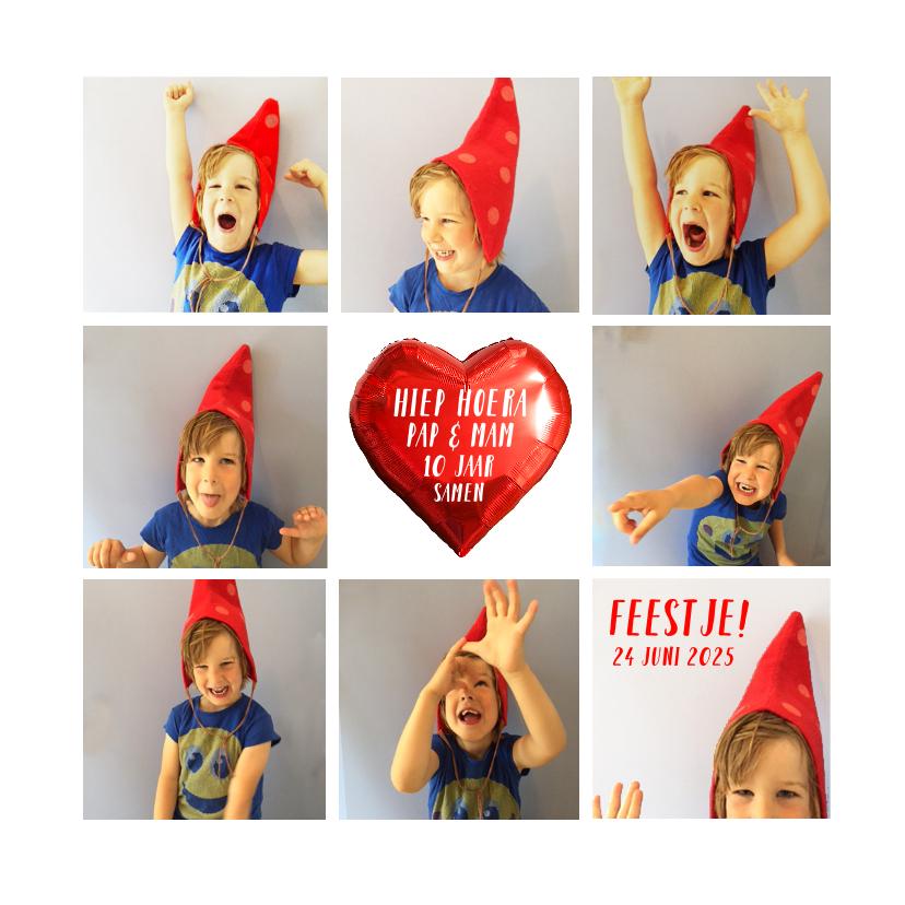 Jubileumkaarten - Uitnodiging feest collage hip