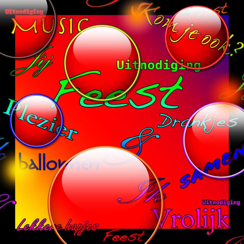 Jubileumkaarten - uitnodiging feest fun colors a