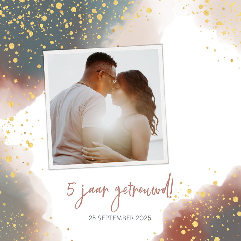 Jubileumkaarten - Uitnodiging feestje huwelijksjubileum waterverf en goud