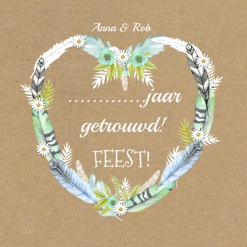 Uitnodigingen - uitnodiging hart veren getrouwd