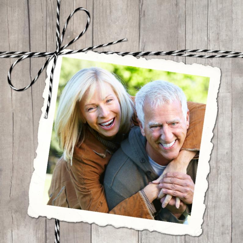 Jubileumkaarten - Uitnodiging Hout Twine Polaroid Foto