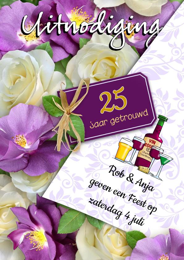 Jubileumkaarten - Uitnodiging huwelijk jubileum aanpasbaar getal 25