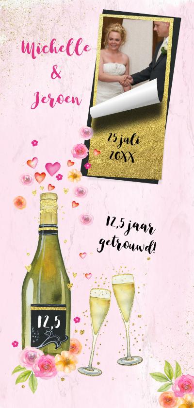 Jubileumkaarten - Uitnodiging huwelijksjubileum champagne