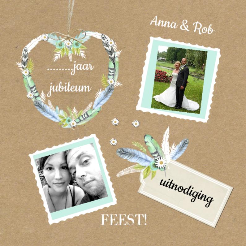 Jubileumkaarten - uitnodiging jaar getrouwd veren