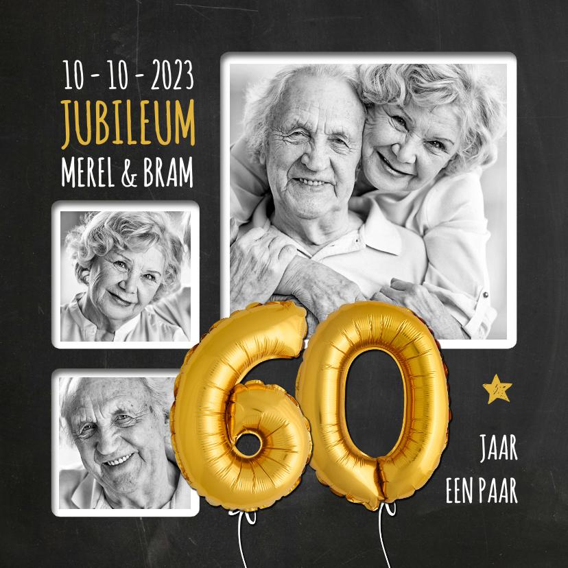 Jubileumkaarten - Uitnodiging jubileum 60 jaar ballonnen goud