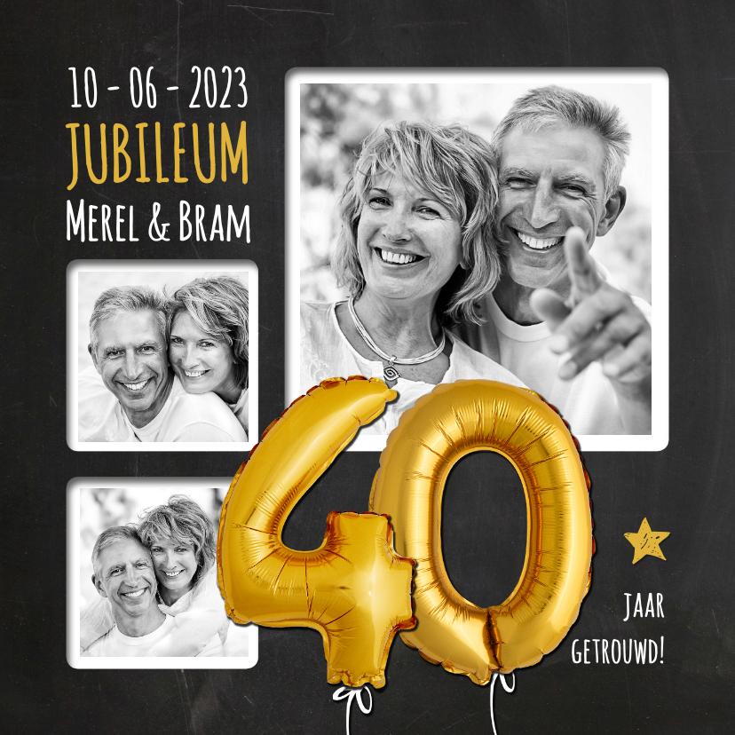 Jubileumkaarten - Uitnodiging jubileum ballonnen goud 40