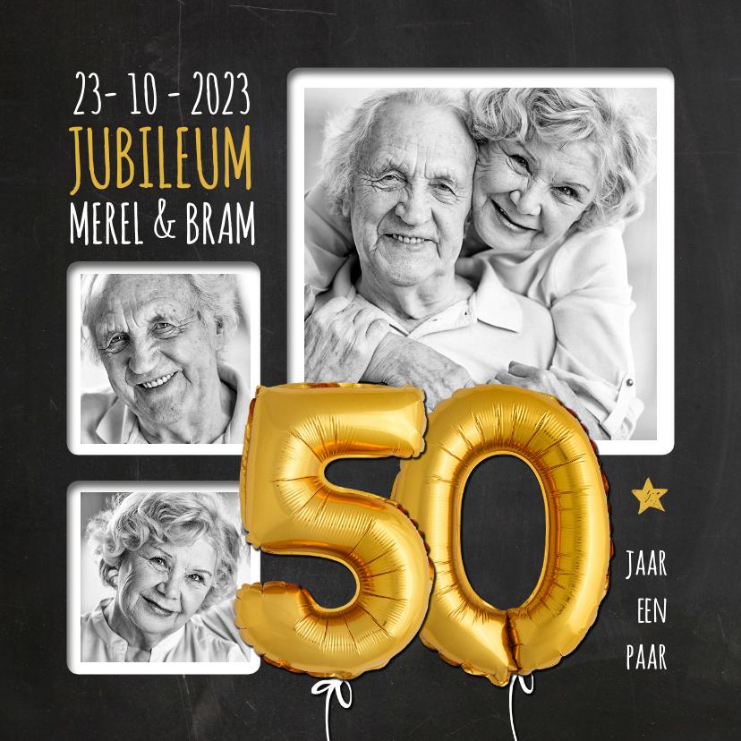 Jubileumkaarten - Uitnodiging jubileum ballonnen goud 50 jaar krijtbord