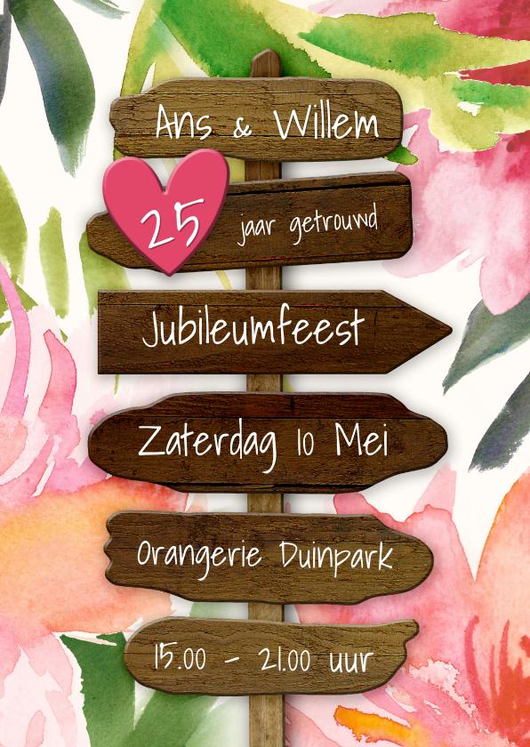 Jubileumkaarten - Uitnodiging jubileum botanische wegwijzer bloemen hout