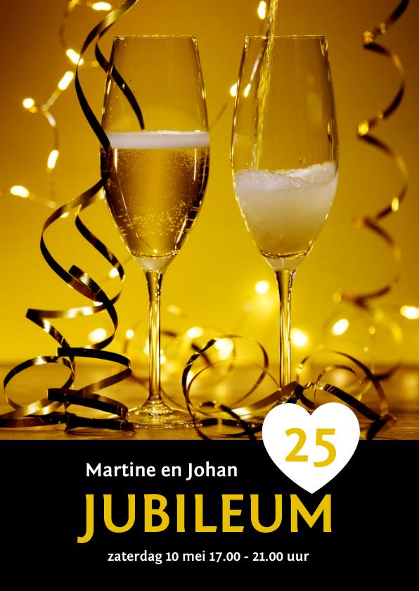 Jubileumkaarten - Uitnodiging jubileum champagne en slingers binnen eigen foto