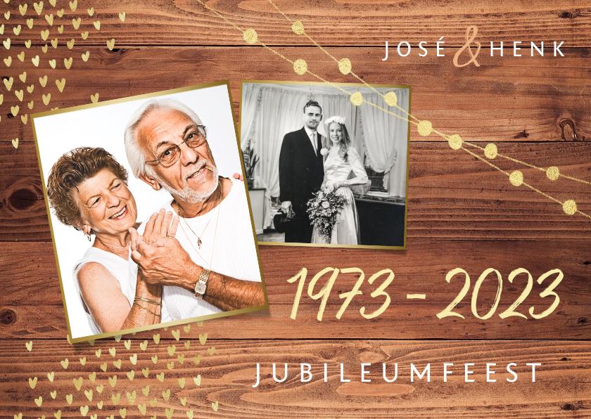 Jubileumkaarten - Uitnodiging jubileum goud hout stijlvol foto's hartjes