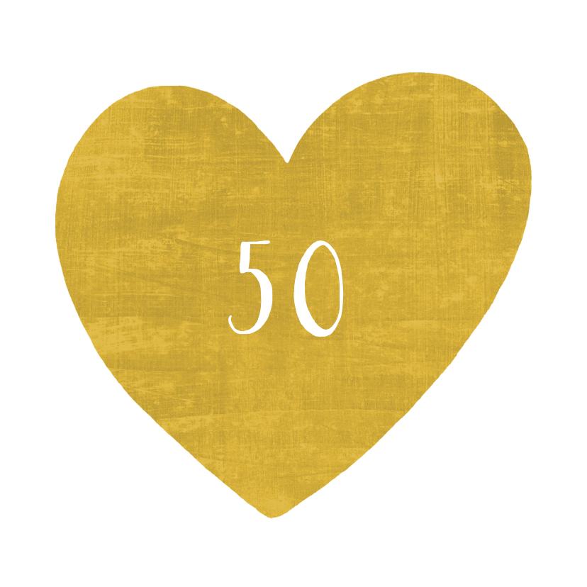 Jubileumkaarten - uitnodiging jubileum gouden hart